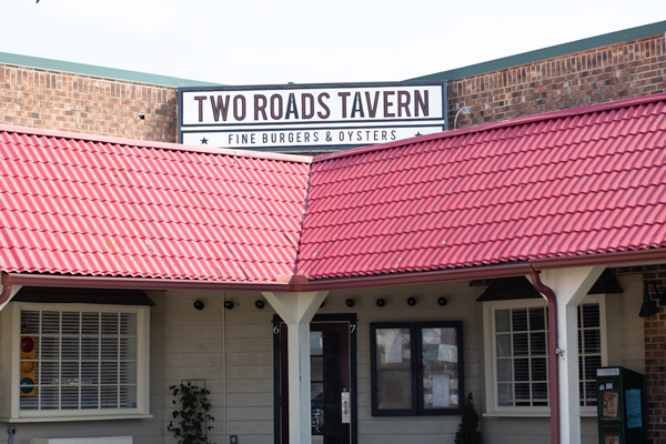 the entrance to Two Roads Tavern in Kill Devil Hills
