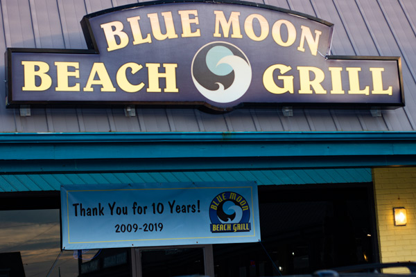 the exterior of Blue Moon Beach Grill in Nags Head, NC