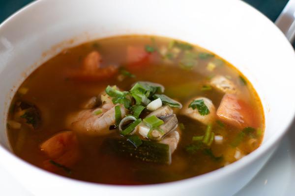 a bowl of Tom Yum soup