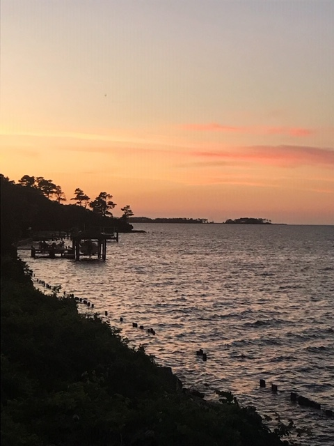 view of a sunset over the Currituck Sound