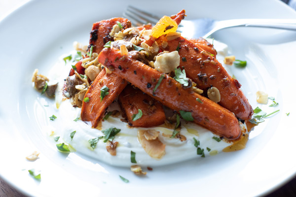 Harissa Carrots with Yogurt and Chaat Masala Granola