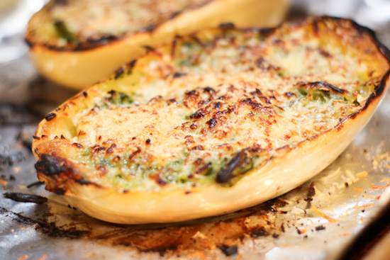 Cheesy Kale-Stuffed Spaghetti Squash