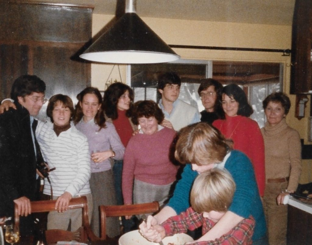 Chef Dawn Holcomb's family gathered around the table in the 80's, making a stir