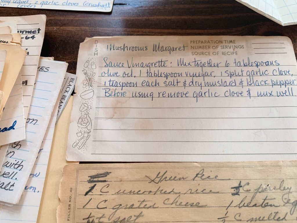 Handwritten recipes on old index cards
