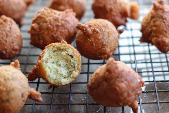 Dill hushpuppies on a wire rack