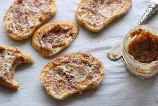 Toasted bread with caramelized shallot butter on top