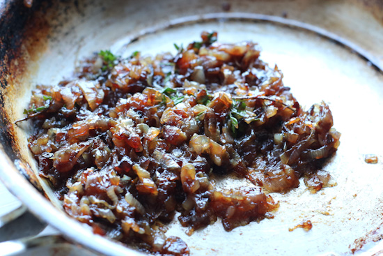 Caramelized shallots in a pan