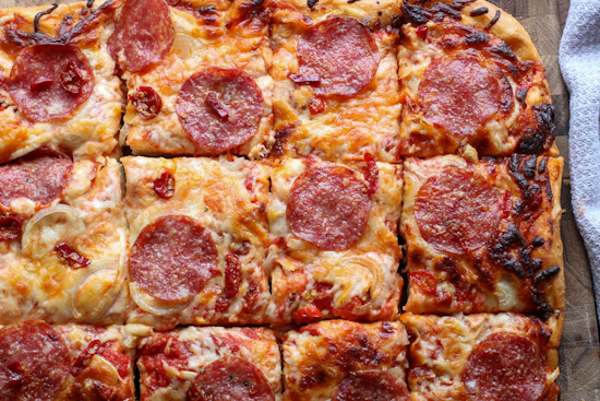 Salami and Hot Pepper Sicilian Pizza