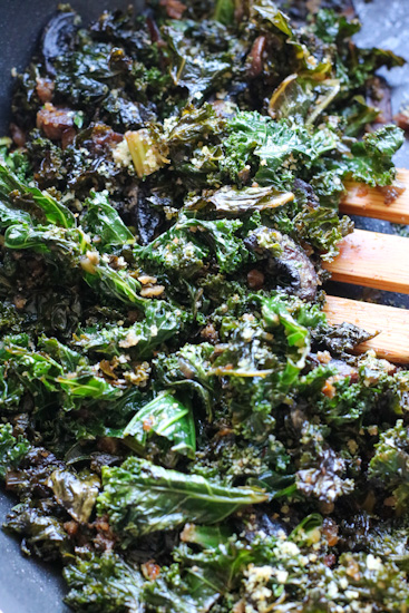 Mushrooms and Kale with Breadcrumbs