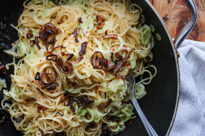 Szechuan miso noodles in pan
