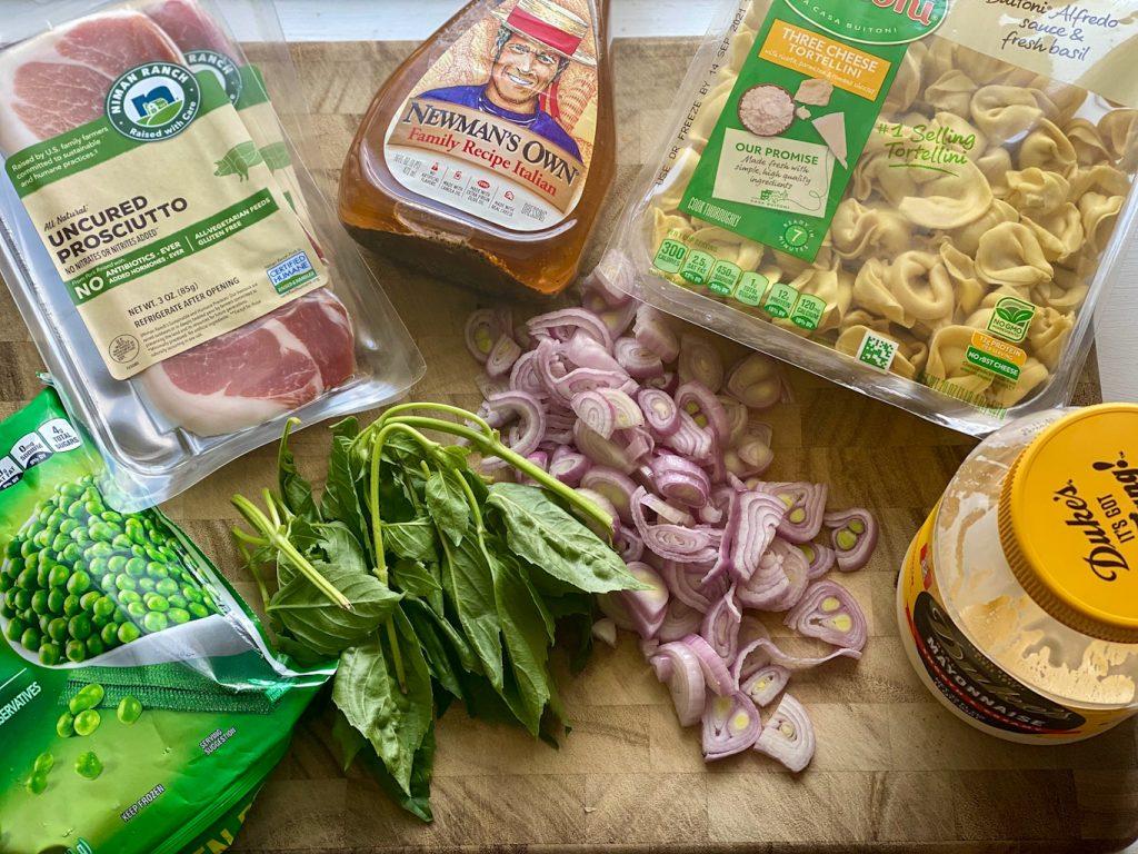 ingredients for tortellini pasta salad
