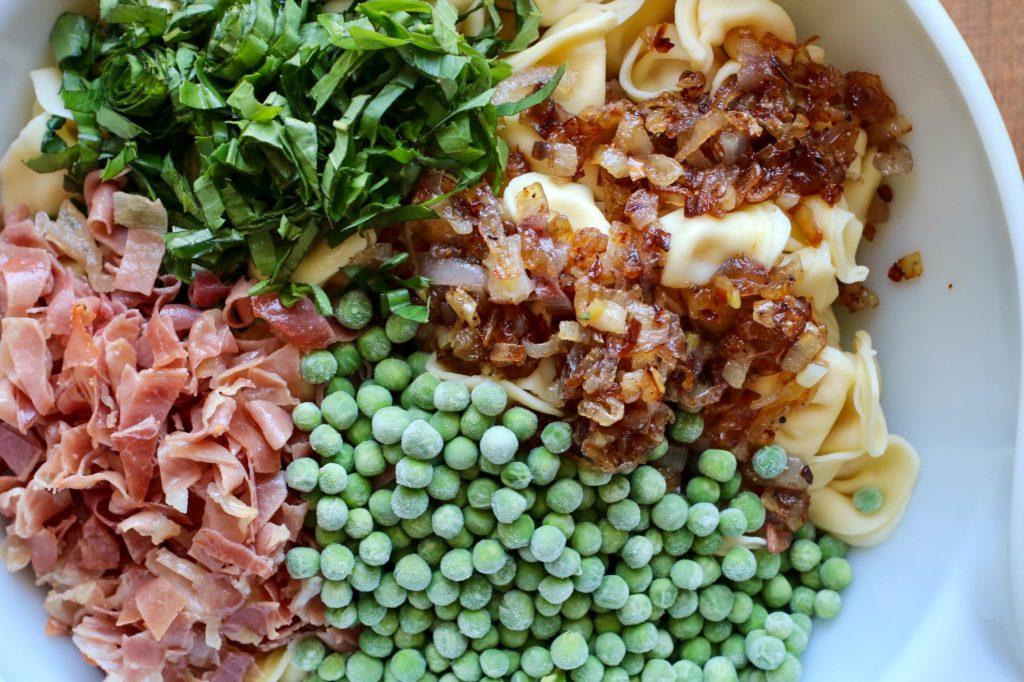 tortellini pasta salad in a bowl